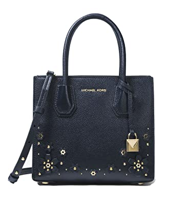 d1ab38db37f9 MICHAEL MICHAEL KORS Mercer Medium Floral Embellished Leather Crossbody  (Admiral): Handbags: Amazon.com