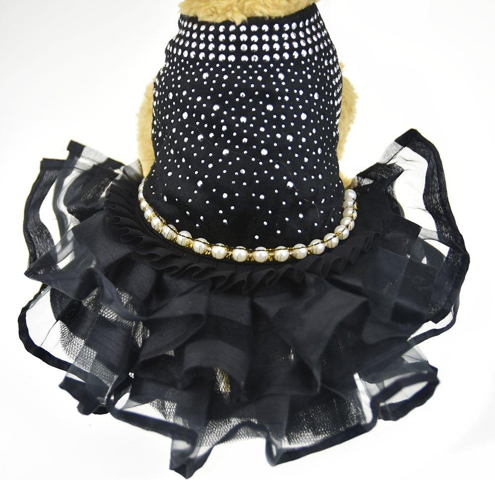 DIAN DIAN Pet Bling Black Dog Party Dress for Cat Dog Tutu Skirt Dog Wedding Dress Outfits Apparel Summer Dog Shirt Clothes