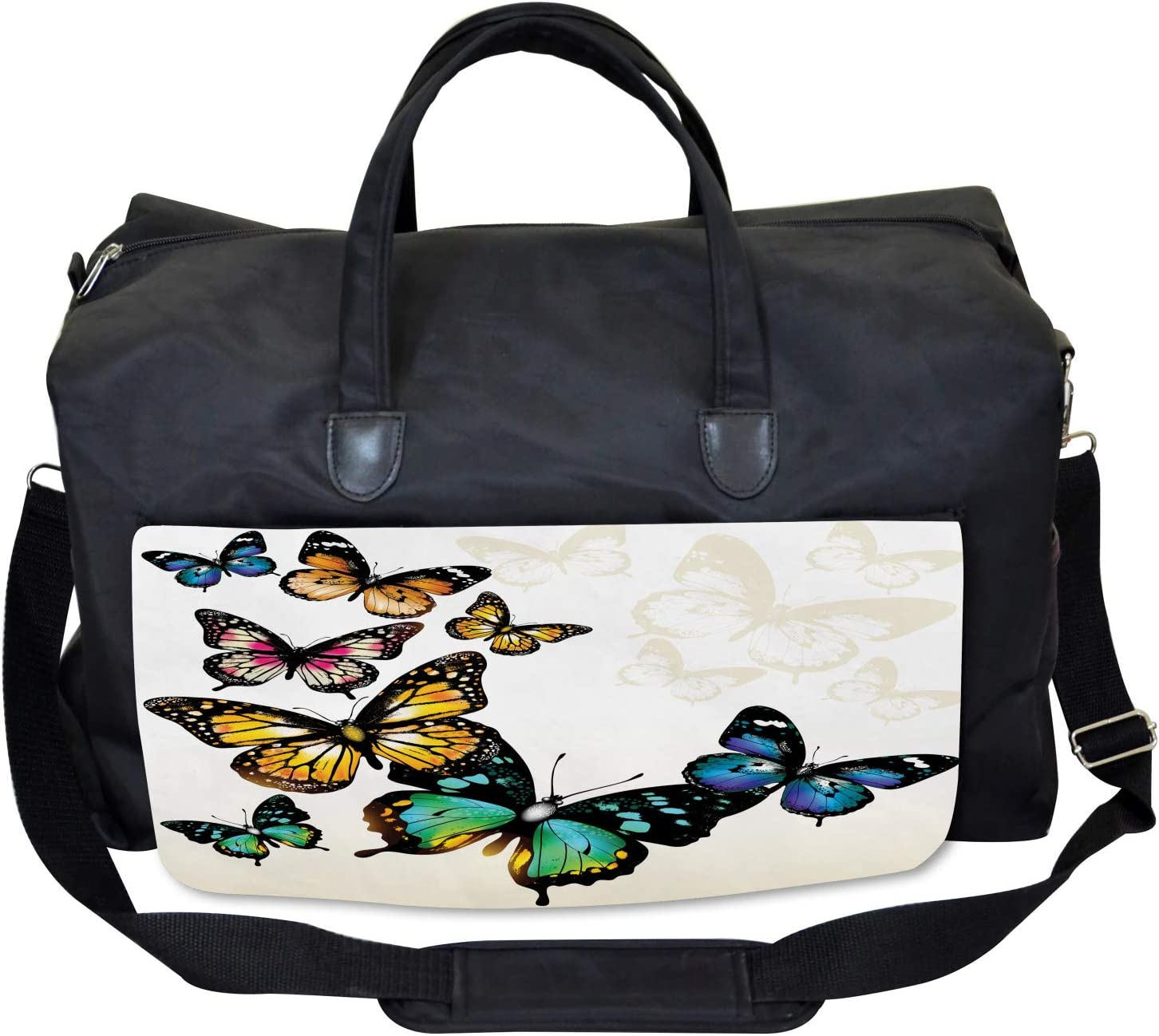 Ambesonne Colorful Gym Bag Monarch Shades Ombre Large Weekender Carry-on