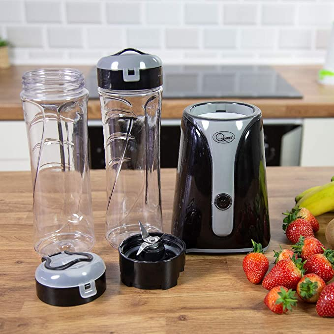 Quest Nutri-Q Personal Blender 600ml Stainless Steel Blades One Touch Button Black /& Grey Slimline Portable and Compact
