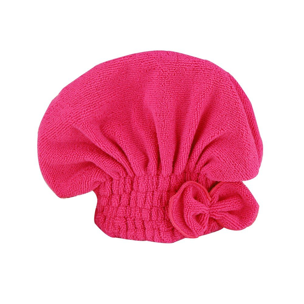 Alelife Newly Textile Useful Dry Microfiber Turban Quick Hair Hats Towels Bathing (Hot Pink)