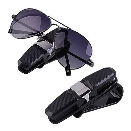 b48d180cf18a Amazon.com  2 Pack Multi-Functional Car Sun Visor Clip Glasses Sunglasses  Holder Ticket Card Clip (Silver)  Automotive