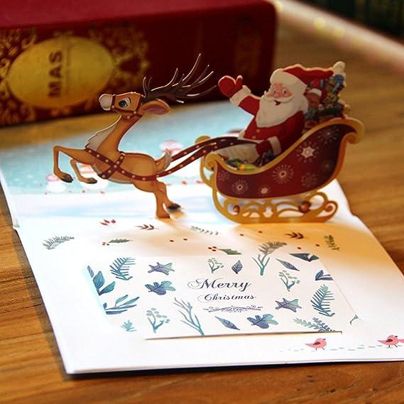 Wedding & Anniversary Bands Dependable Handicraft 3d Holiday Greeting Cards Santas Sleigh Deer Pop Up Thanksgiving Invitations Card