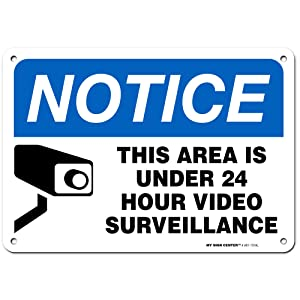 """24 Hour Video Surveillance Sign, Indoor/Outdoor UV Protected Laminated Rust-Proof and Fade-Resistant .040 Aluminum, Security Camera Warning Sign, 7"""" x 10"""" Made in USA – by My Sign Center"""