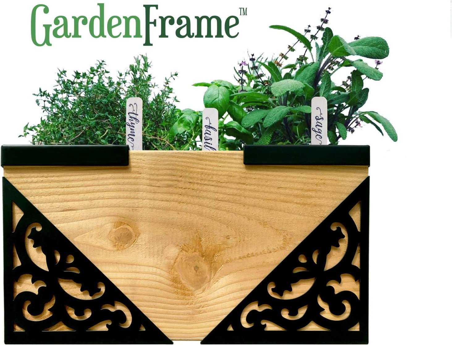 GardenFrame Victorian Farmhouse Raised Garden Bed Kit 4 Steel Corners with Matching Caps Organic Black, Outdoor Large Planters, Flower Bed, Vegetable Garden, Herb Garden, Planter Box …
