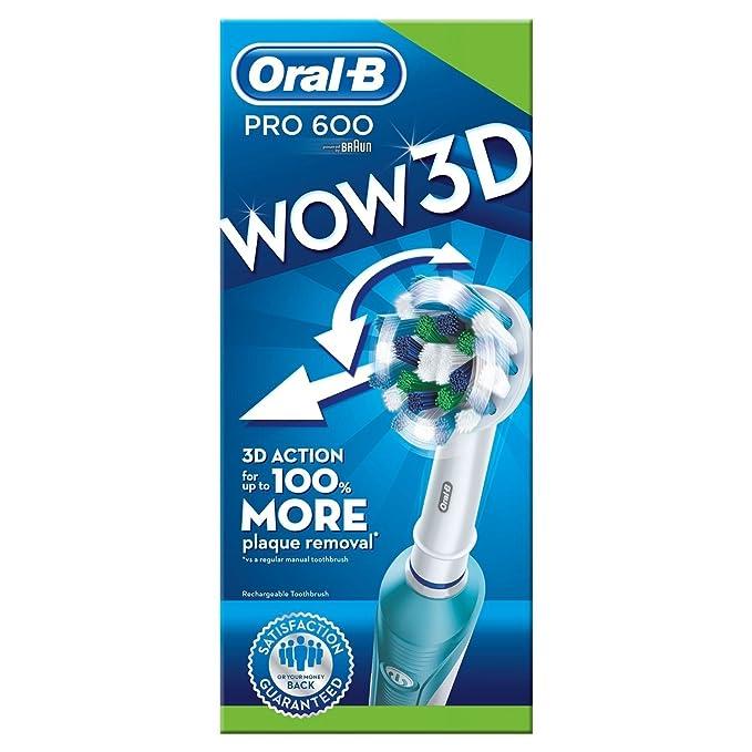 Braun Oral-B PRO 600 - Cepillo de dientes eléctrico de rotación, color blanco y azul: Amazon.es: Salud y cuidado personal