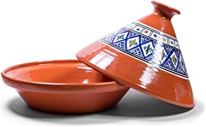 Kamsah Hand Made and Hand Painted Tagine Pot   Moroccan Ceramic Pots For Cooking and Stew Casserole Slow Cooker (Large, Bohemian Blue)