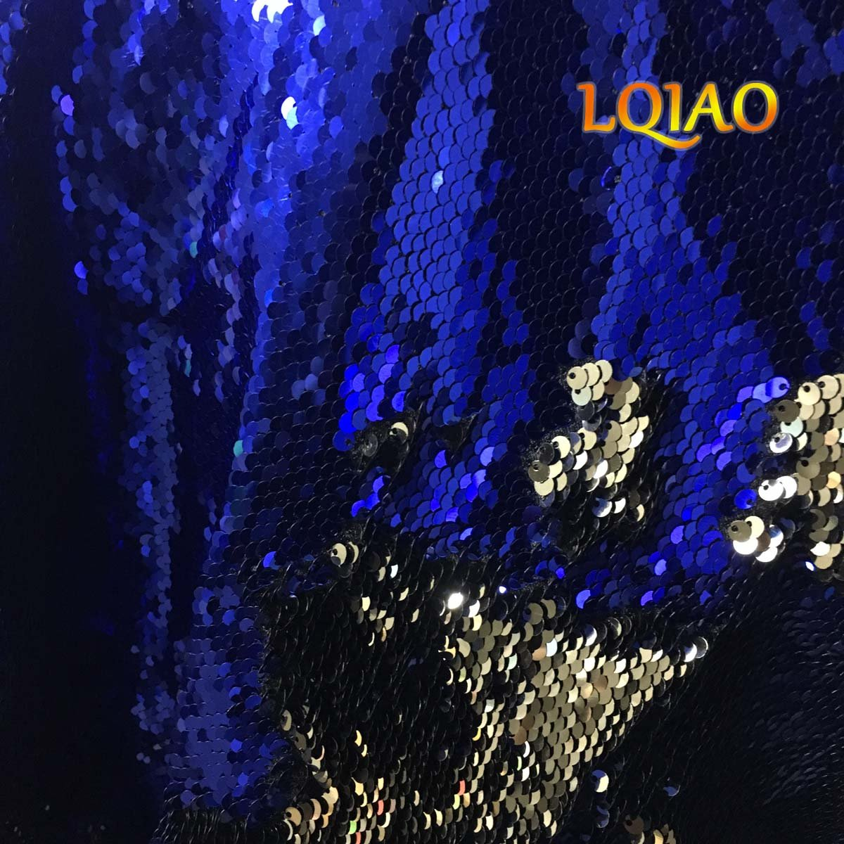 5f807153f206cb Amazon.com  LQIAO 1 Yard Flip UP Mermaid Sequin Fabric-Royal Blue Gold Reversible  Sequin Fabric Sparkly Fabric for Cushion Cover Curtain Table Linens ...