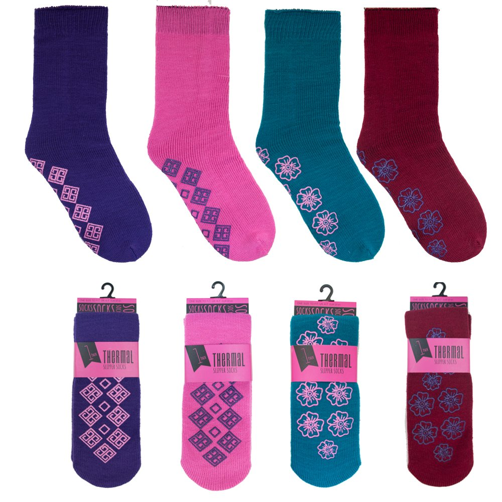 4 Pairs Ladies or Mens Thermal Non Slip Grip Slipper Lounge Socks - Mixed Colours Undercover