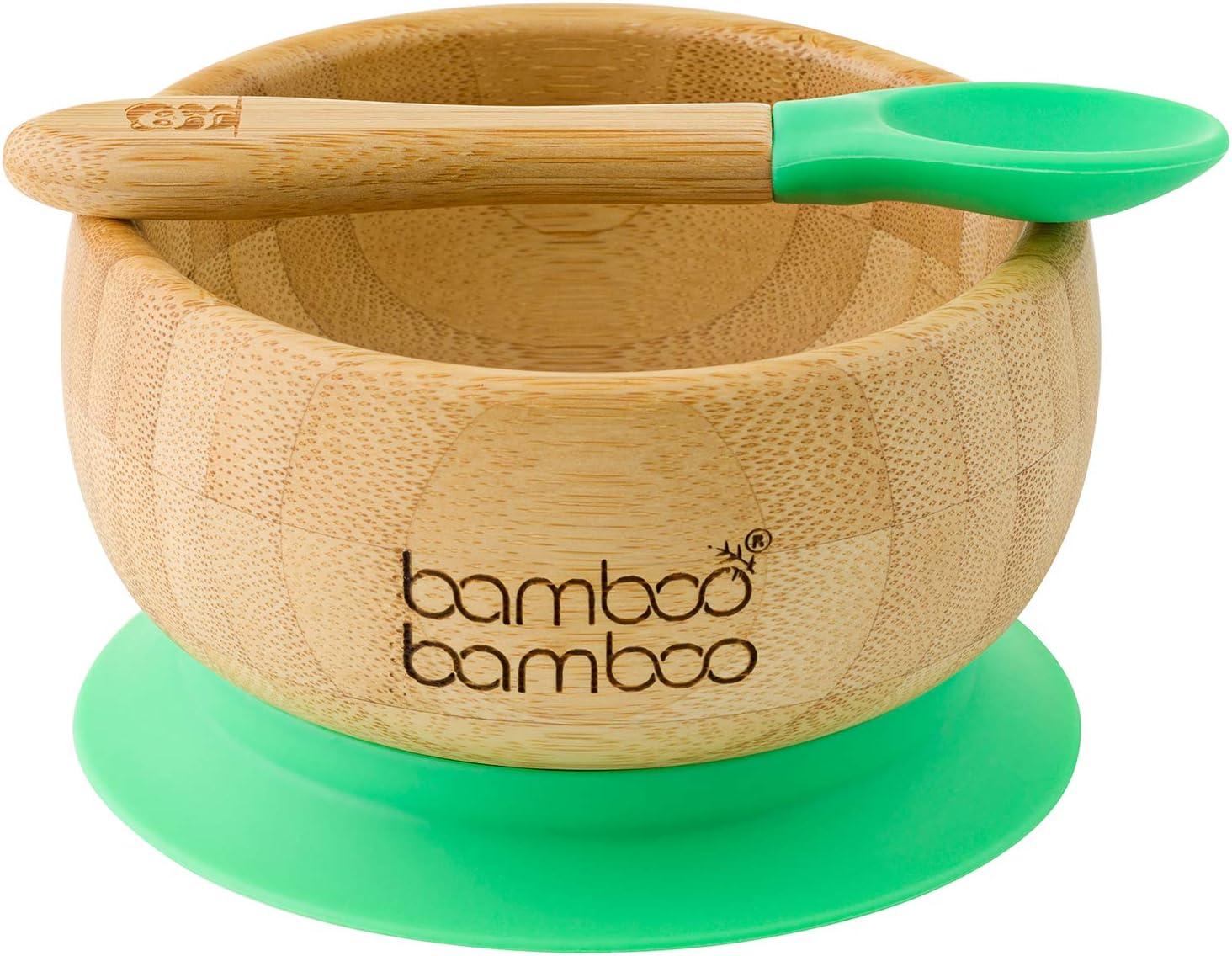 Set de Bowl adherente y cuchara para bebé en combinación, Bowl que no se despega de la mesa al comer, Bambú natural (Verde)
