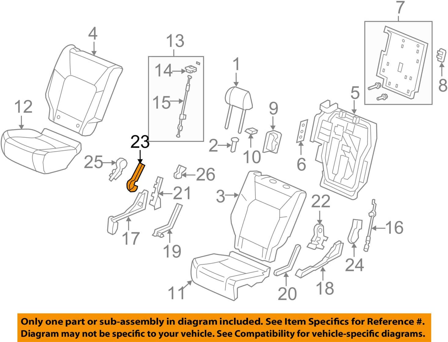 Seat Bracket Cover Honda Genuine 81357-SZA-A01ZC
