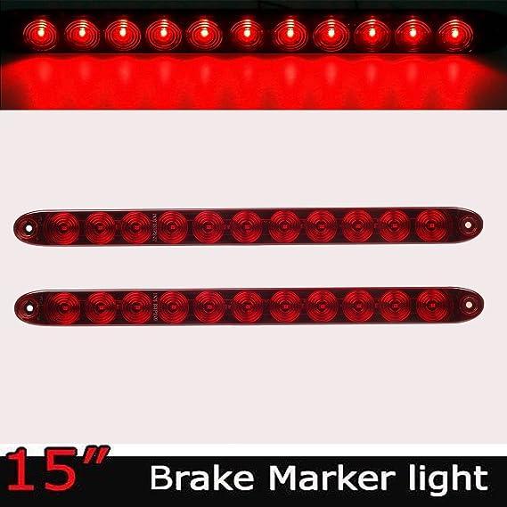 nirananda 2 Pcs Rot 38,1 cm Wasserdicht 11 LED Light Bar Stop Drehen ...