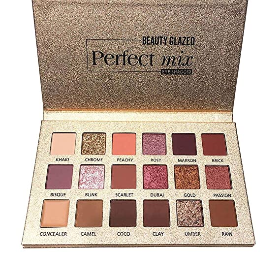 Sombra de Ojos 18 Colores Paleta de Mate con Purpurina Brillos Metálicos Maquillaje Profesional Cosmético de Belleza