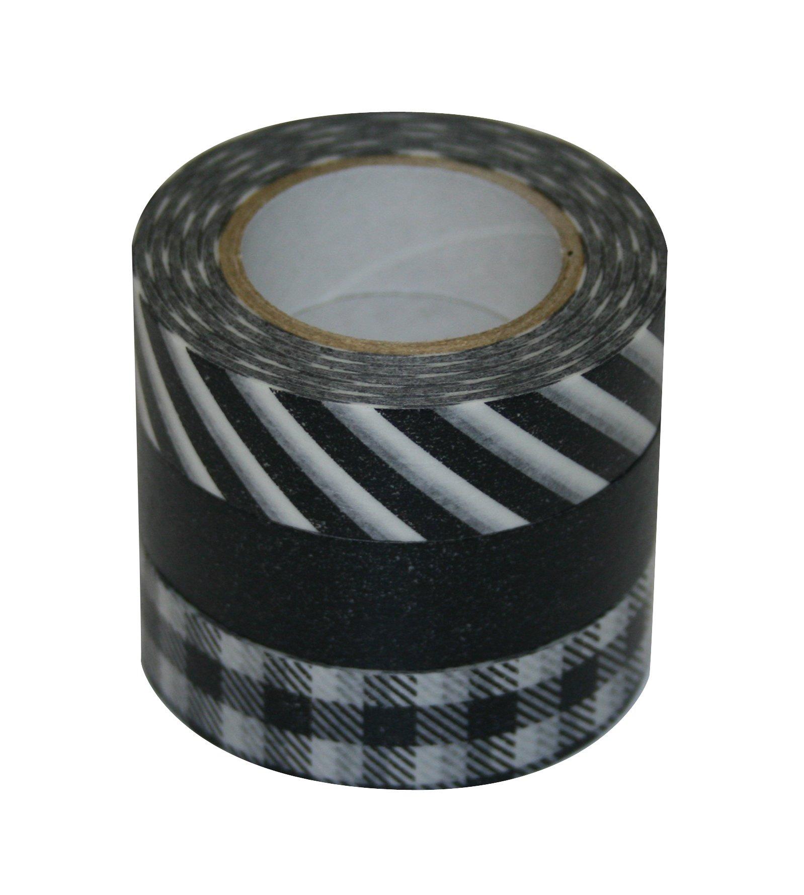 DŽcor Washi Tape 3 Piece Set: Black Stripe, Black Plain, Black Check