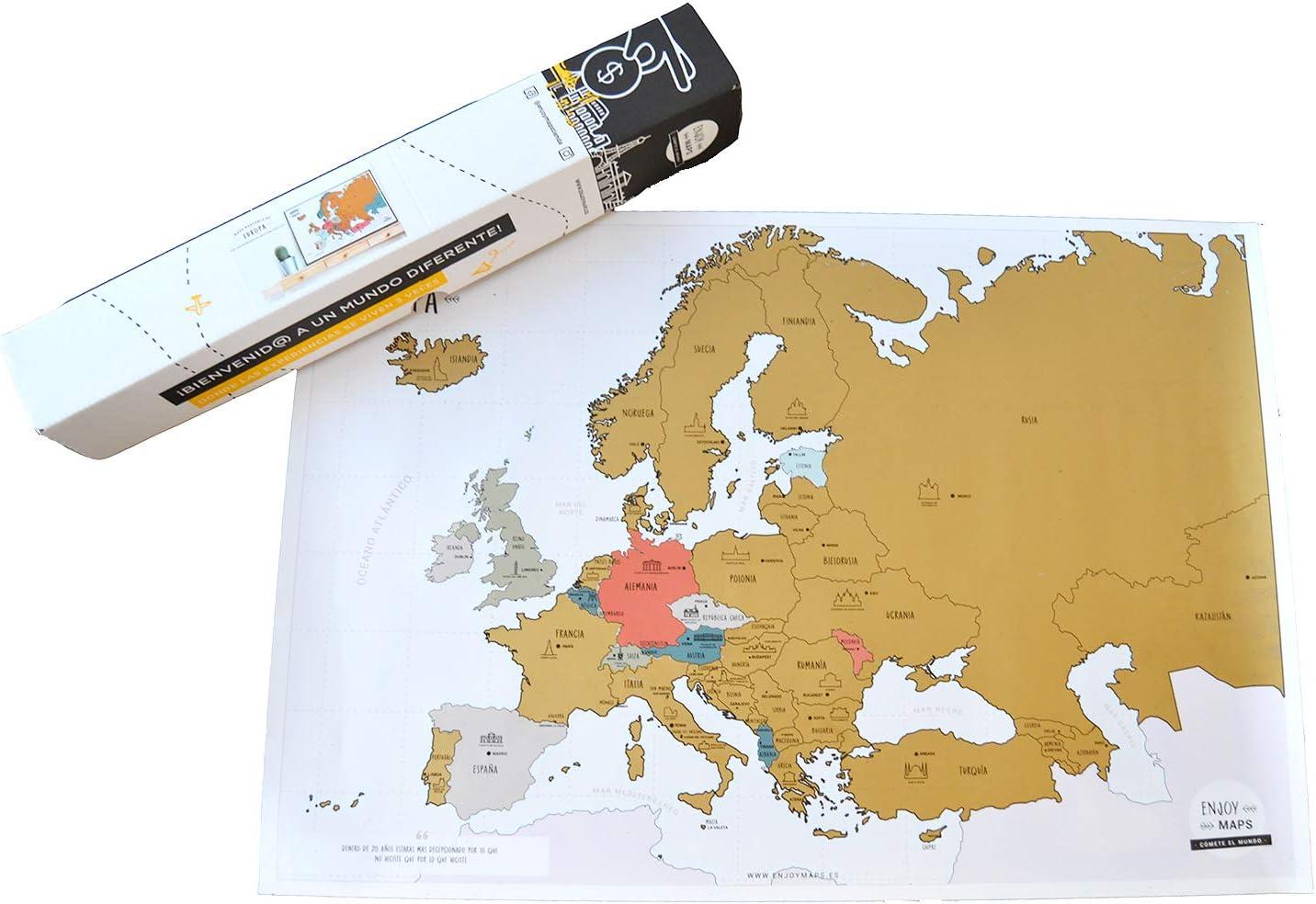 Enjoy Maps United Mapa Diseñada con Tinta Rascable, Papel estucado ...