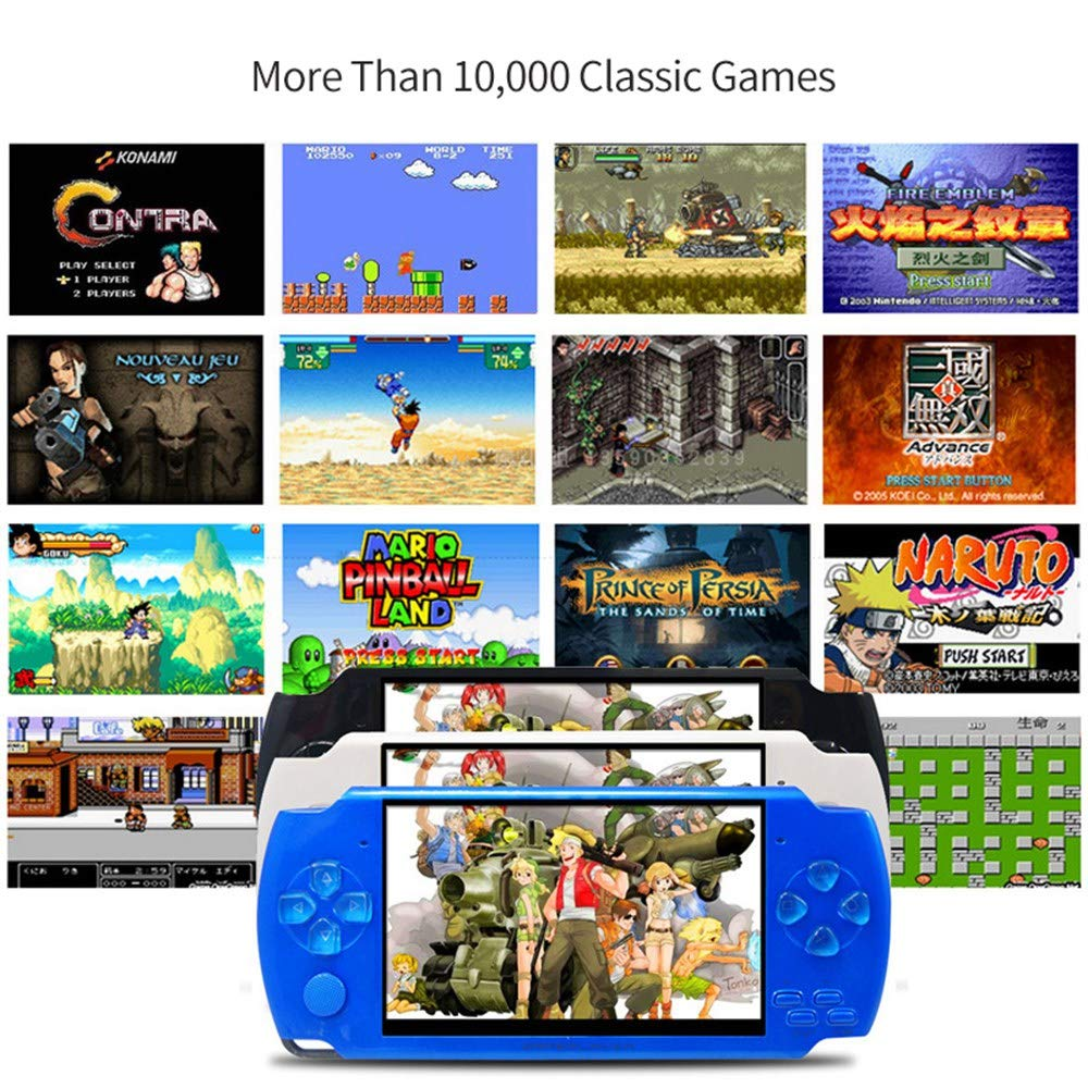 Womdee Handheld Game Console with Built in Games,Portable Video Games for Kids Retro,Built-in 500 Classic Video Games Player with 4.3'' 8GB System for Birthday Presents Kids Children Adults (Blue) by Womdee (Image #2)