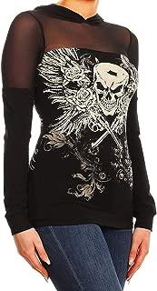 product image for Women Plus Size Black Sheer Long Sleeves Hoodie Rhinestones Skull Tattoo Top