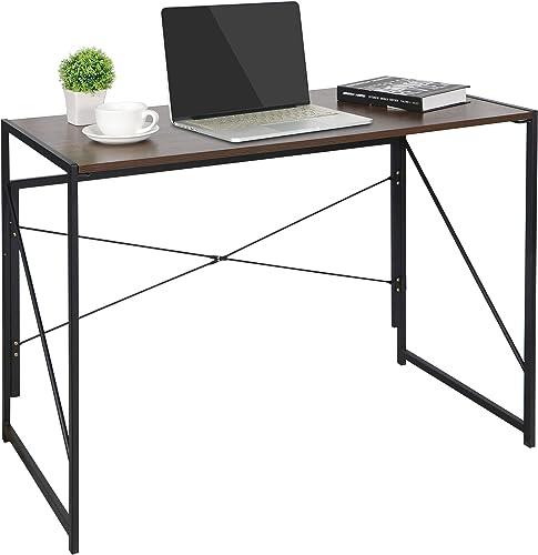ZenStyle Folding Desk Writing Computer Desk Modern Simple Foldable Writing Table for Home Office Work Multipurpose Workstation with Solid Steel Frame Waterproof Desktop