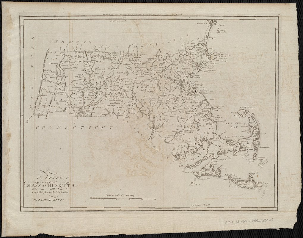 Historic Map   1800 The state of Massachusetts : compiled from the best authorities   Antique Vintage Reproduction