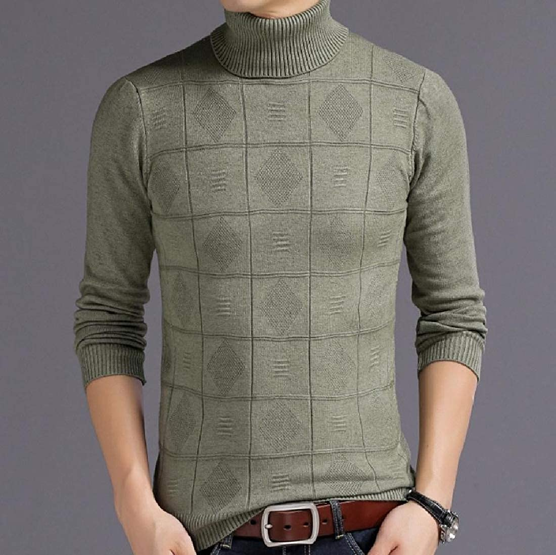 Highisa Mens Turtleneck Pure Color Jacquard Pullover Sweater Tops