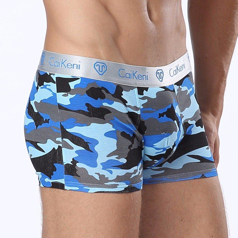 CAIKENI Men\'s Underwear Comfort Cotton Stretch Boxer Briefs Trunk with Camouflage Print