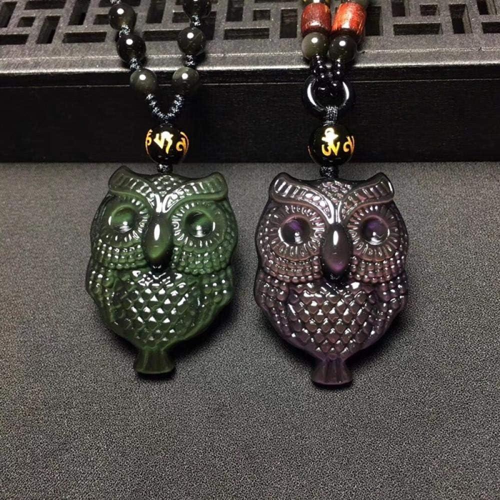 VFJLR Colgante Colgante de Collar de Jade de obsidiana de Color Colgante búho Tallado a Mano joyería Linda de Piedras Preciosas
