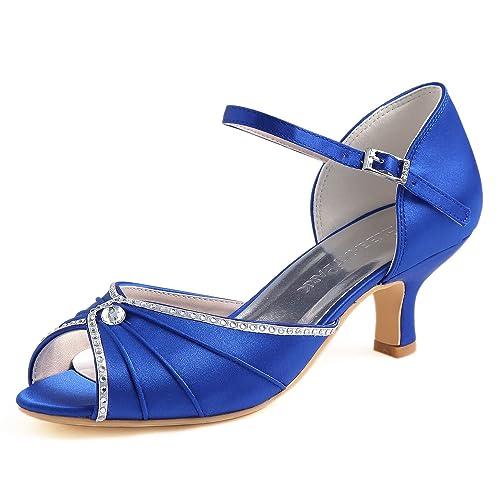 0d6745b7a82 ElegantPark HP1623 Peep toes abrochan los zapatos de novia de satén tacón  bajo las sandalias  Amazon.es  Zapatos y complementos