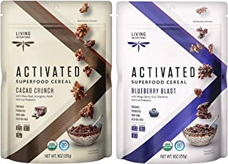 product image for Living Intentions Gluten Free Superfood Probiotic Cereal 2 Flavor Variety Bundle: (1) Blueberry Blast, and (1) Cacao Crunch, 9 Oz. Ea. (2 Bags)