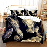 shirlyhome Duvet Cover Sets 3D Jelly Fish Printed 3 Piece Set Bedding 100% Microfiber Used for Gift,1 Duvet Cover + 2 Pillowcases