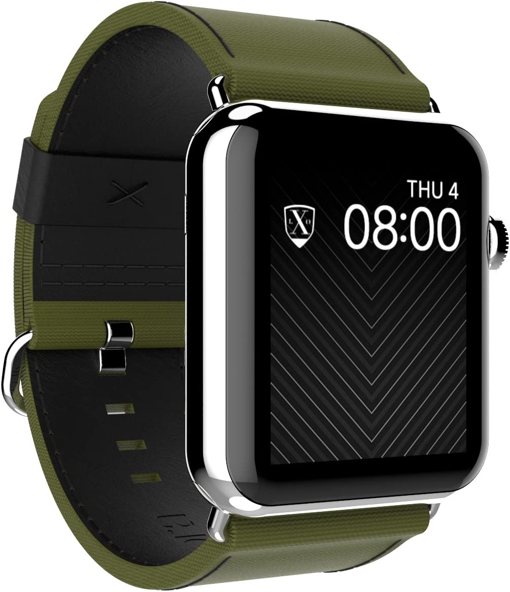 LUXEORA Bravo Nylon Web/Leather Band Strap with Polished Stainless Steel Buckle - 44/42mm - Spec-Op Green and Black - Compatible with Apple Watch Series 5 4 3 2 1 Sport and Watch Edition