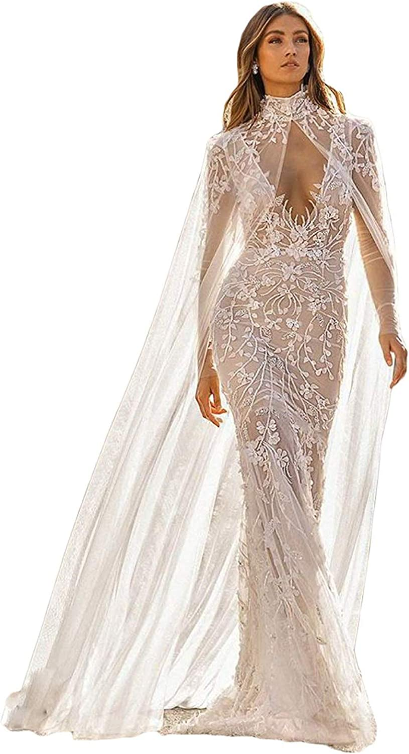 Heigh Neck Wedding Capes Long Lace Bride Wraps Cloaks Cathedral Length