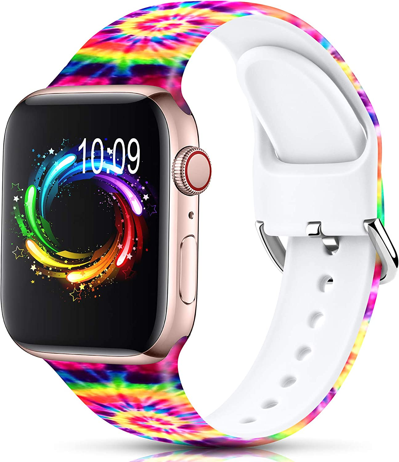 Sport Band Compatible with Apple Watch Bands 38mm 40mm 42mm 44mm for Women Men,Floral Silicone Printed Fadeless Pattern Replacement Strap Band for iWatch Series 3 6 5 4 2 1 SE,Rainbow,38/40 mm M/L