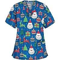 RJDJ home Scrub Tops for Women's Christmas Uniform - Thanksgiving Print V Neck Nurse Nursing Working Uniform with…