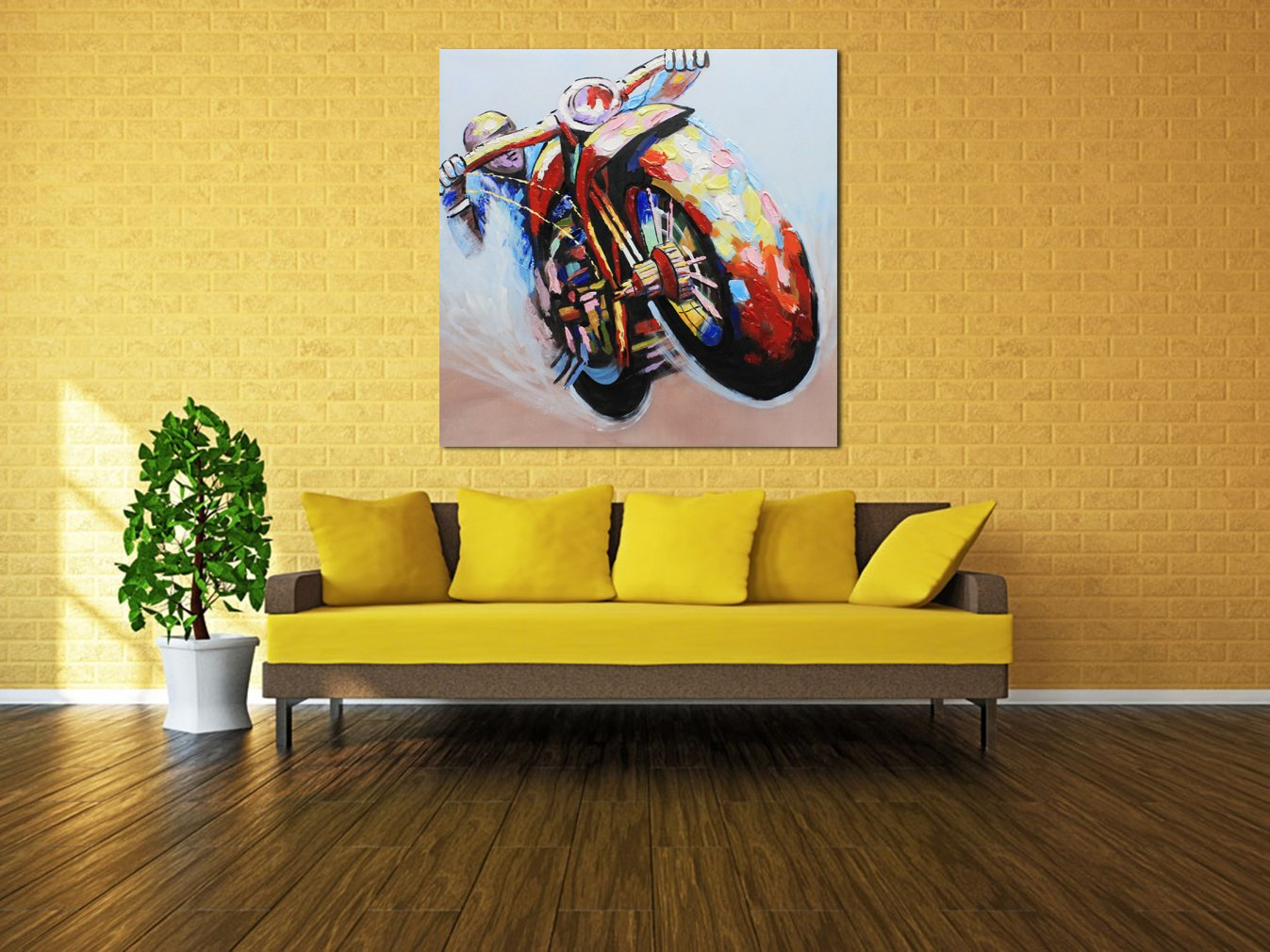 Amazon.com: Muzagroo Art Oil Painting Riding a Motorcycle Hand ...