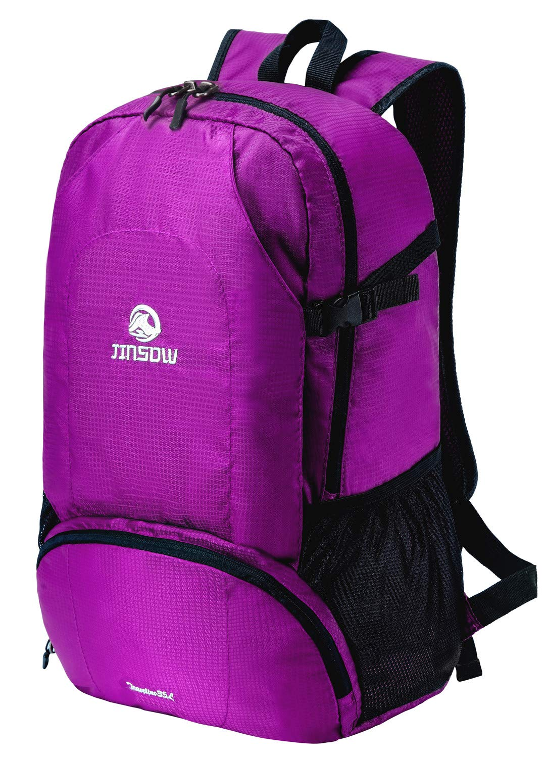 JINSOW 35L Lightweight Packable Hiking Backpack Daypack, Water Resistant Foldable Large Bags Travel Camping Outdoor Backpacks for Women Men Boys Girls Purple by JINSOW (Image #2)