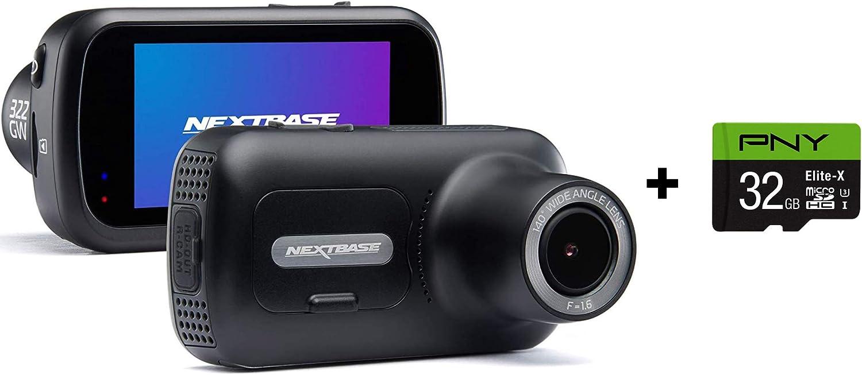 GPS Emergency SOS Quicklink WiFi Bundle Nextbase 322GW Dash Cam 2.5 HD 1080p Touch Screen Car Dashboard Camera Wireless Black PNY Elite-X 32GB U3 microSDHC Card