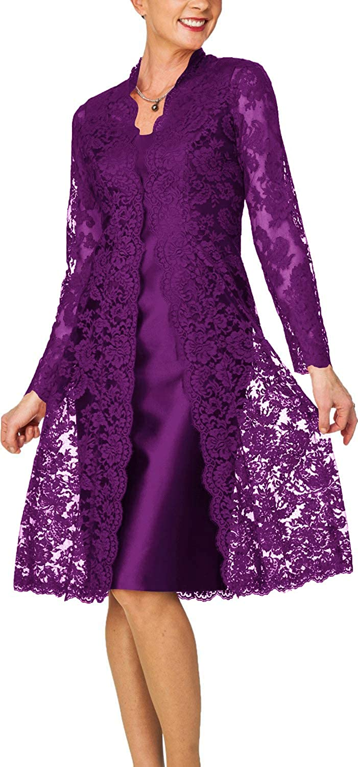 Dark Purple H.S.D Women's Sheath Short Satin Mother of The Bride Dress with Lace Jacket