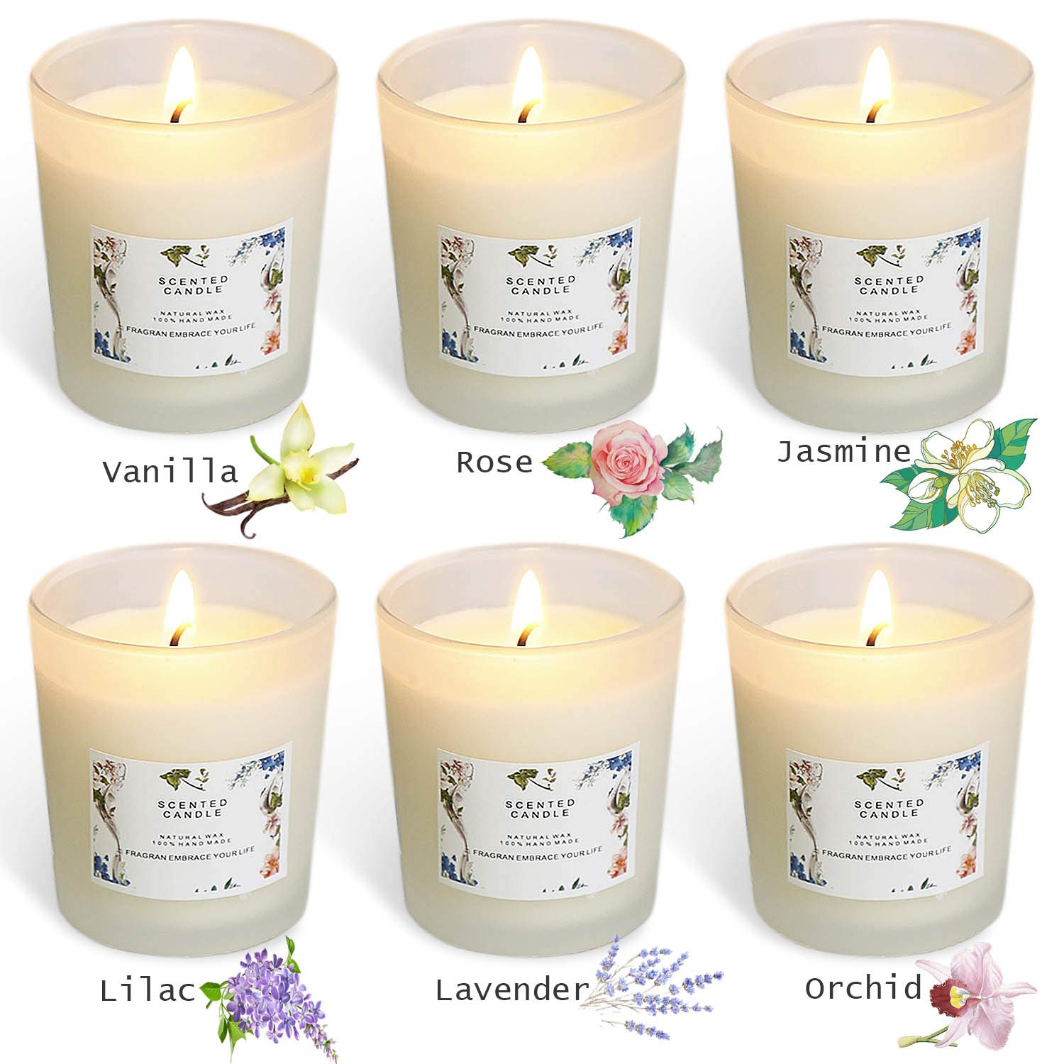 YIHANG Scented Candle Gift Set - (6 x 2.2 Oz/65g) - Aromatherapy Set of Fragrance Soy Wax - for Stress Relief and Relaxation