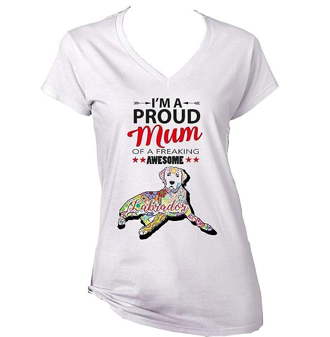 teesquare1st Labrador - Proud Mum c Camiseta para Mujer de Algodon: Amazon.es: Ropa y accesorios