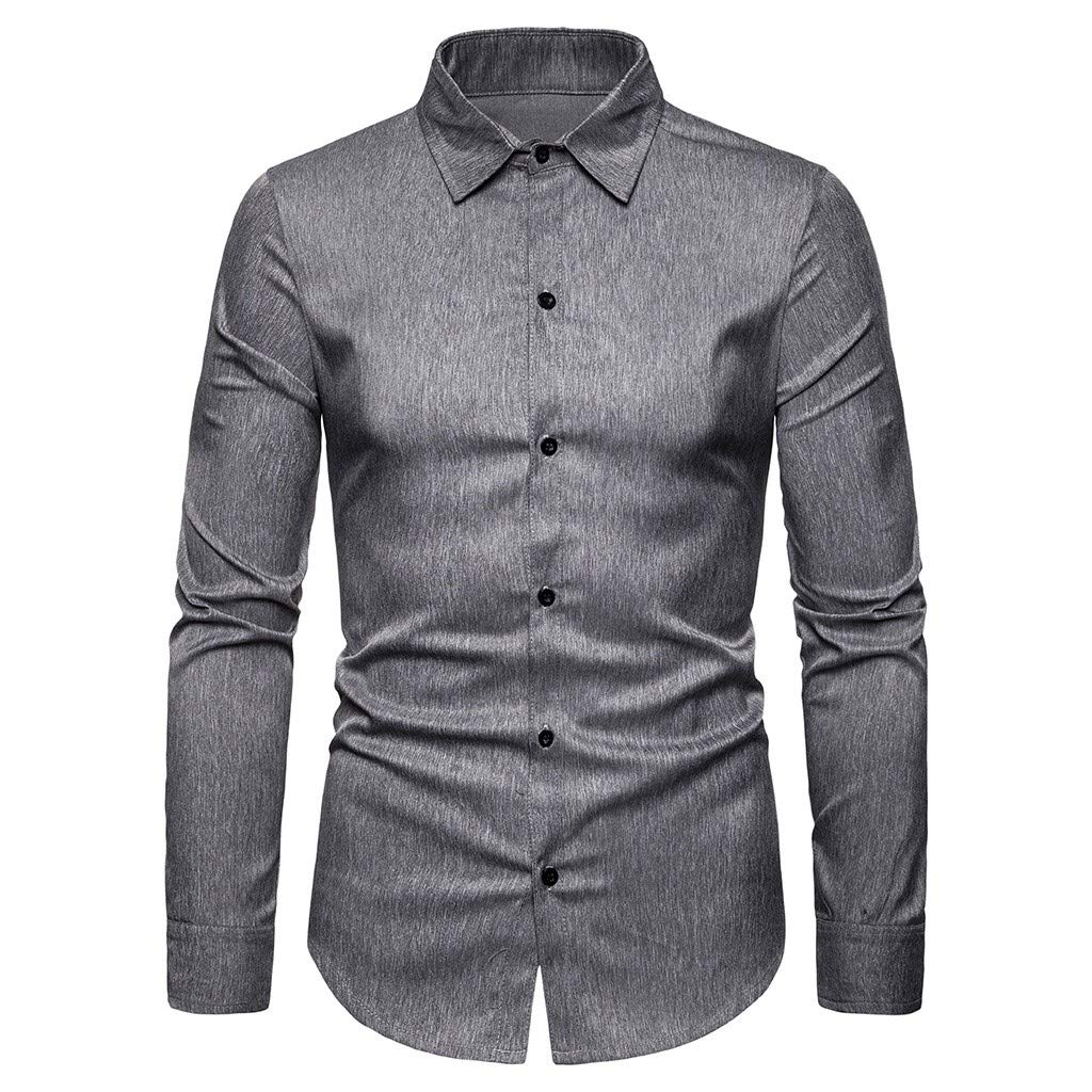 SHUBHU Mens Long Sleeve Top Striped Button Turn-Down Collar Blousee T-Shirt