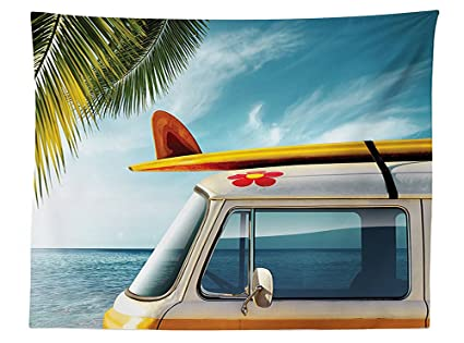 vipsung Tabla de Surf decoración Mantel Vintage Van en la Playa con una Tabla de Surf