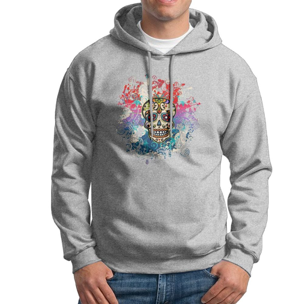 Hooded Sweatshirt Mens Classic Pullover Fleece Hoodie Mexican Sugar Skull