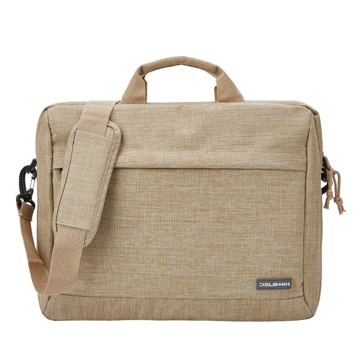 DELSWIN 15.6 Inches Laptop Briefcase Sleeve - Lightweight Laptop Shoulder Messenger Bag Business Carrying Handbag for School/Travel/Women/Men (15.6, Beige)