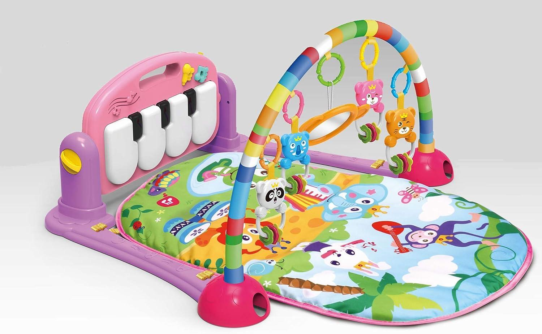Manta de juegos musical con arco de juegos y piano, manta de juegos, manta para gatear o jugar para bebé, color rosa