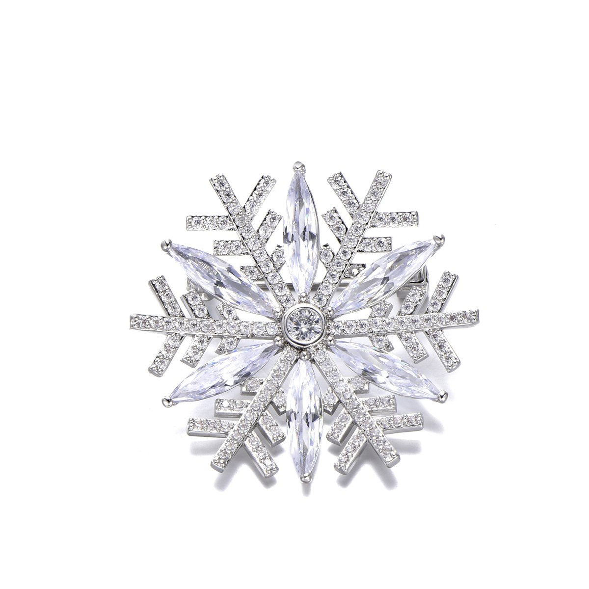 Snowflake Brooch Pins for Women,Dazzling Rhinestone Brooch for Brides Copper Vintage Crystal Brooch Girls CZ Brooch for Wedding,Party (Silver Plated Snowflake) by YOYOMA (Image #1)