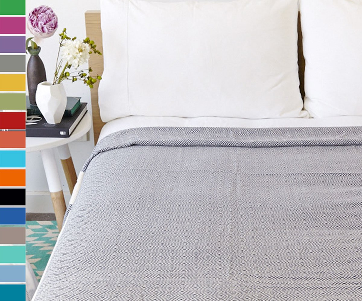 Eshma Mardini Turkish Cotton Quilt Bed Spread Blanket Bed Cover for All Season 98'' x 77.5'' - Beige