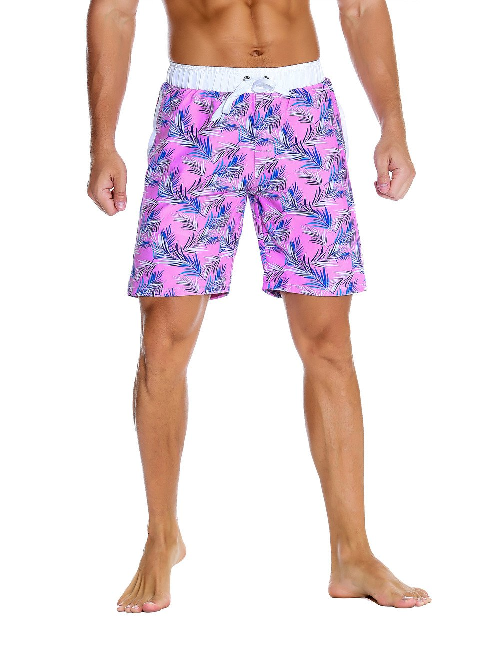 Nonwe Men's Beach Shorts Printed Quick Dry Drawsting with 3 Pockets Light Purple 30