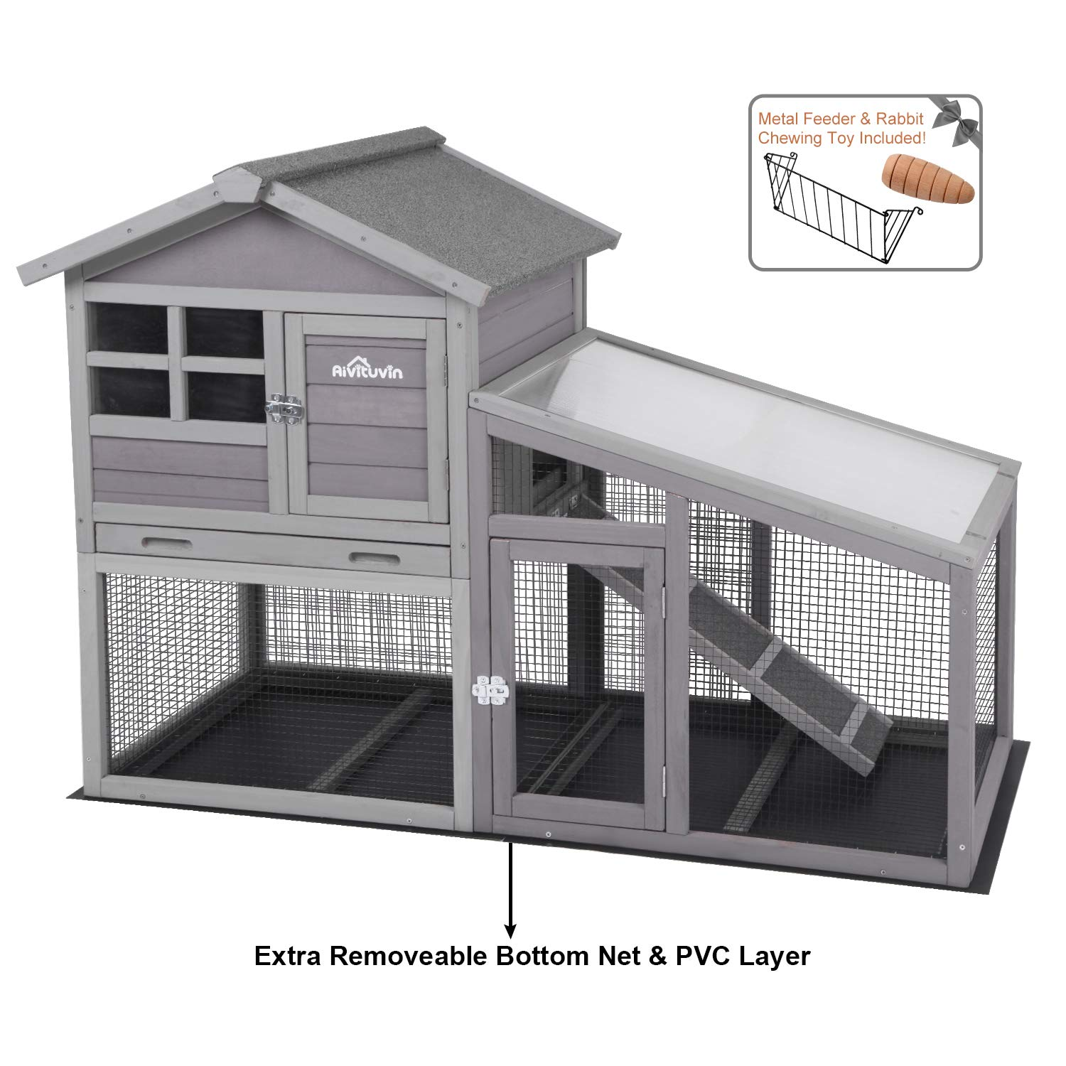 Aivituvin Chicken Coop Indoor and Outdoor,Rabbit Hutch with Removable Bottom Wire Mesh & PVC Layer,Deeper No LeakageTray,Wooden Hen House with Nesting Box,UV Panel