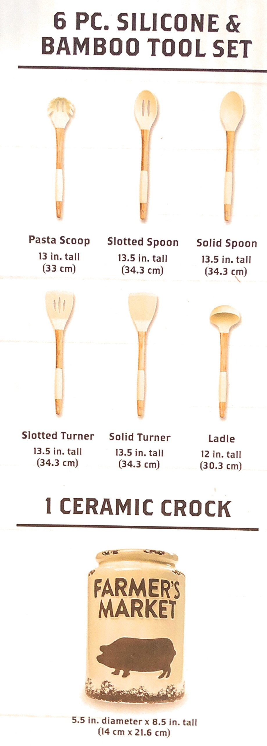 Farmer's Market Ceramic Crock & Tool Utensil. Set, 7 pieces-