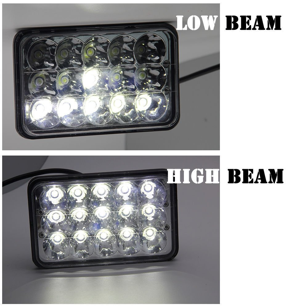 4x6 Sealed Beam Led Headlights For Kenworth T800 T400 2003 Chevrolet C5500 Wiring System T600 W900b W900l Classic 120 132 Rectangular H4656 H4 Conversion High Low Dual Fog